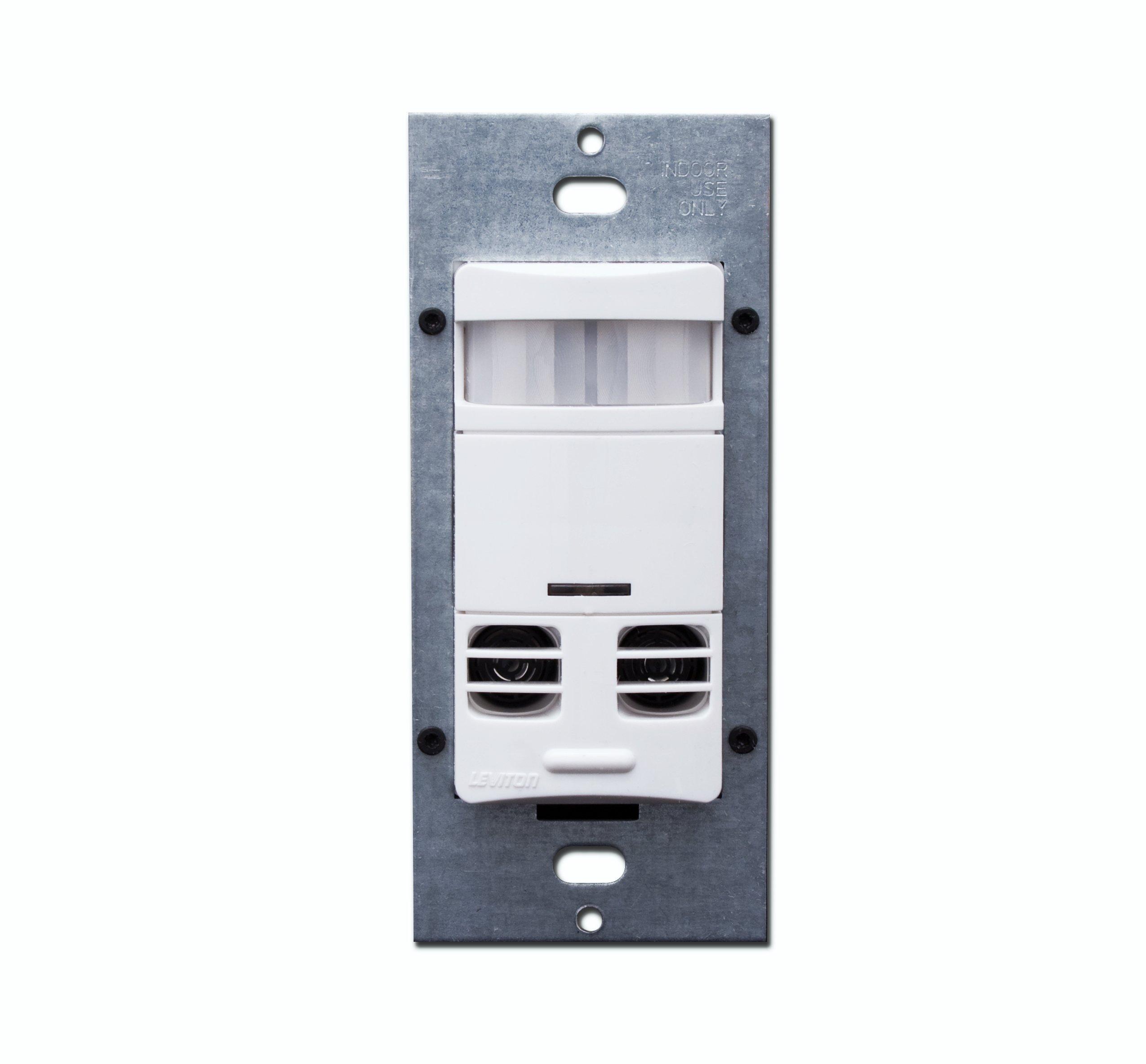 Leviton OSSMT-MDW Ultrasonic/Infrared Wall Switch Sensor, White