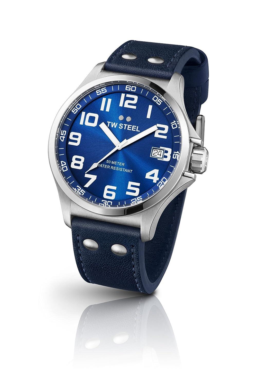 TW Steel Unisex Armbanduhr Pilot Analog Leder blau TW400