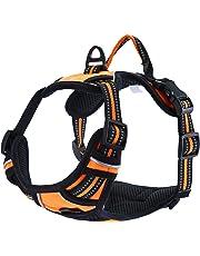 Pettom Harnais pour Chien Animaux Rembourré Réglable Anti-traction et ligne Réfléchissants Confortable Coupe en Nylon - XL Orange