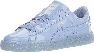 PUMA Kids Basket Patent Iced Glitter Inf Running Shoe