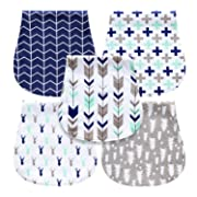 MiiYoung 5-Pack Baby Burp Cloths for Boys, Triple Layer, 100% Organic Cotton, Soft and Absorbent Towels, Burping Rags for Newborns Set