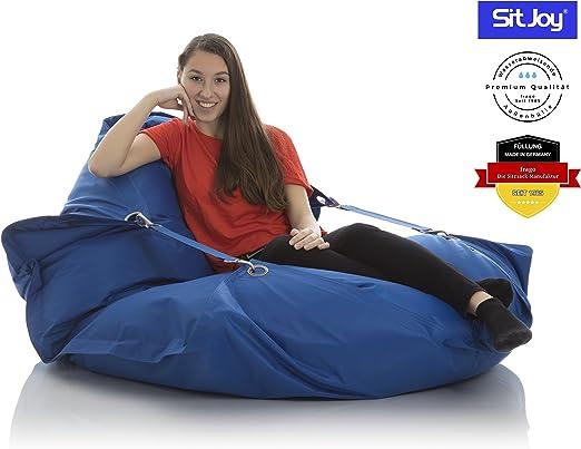 Sitjoy Fashion Sitzsack | 140x200 cm | Outdoor & Indoor | 390 Liter Füllung (Blau mit Ringen | EPS Styropor Perlen)