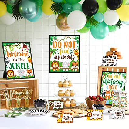 First Birthday Jungle Theme Set For A Special Little Baby Boy Bday Party Wild One Safari Birthday Decorations