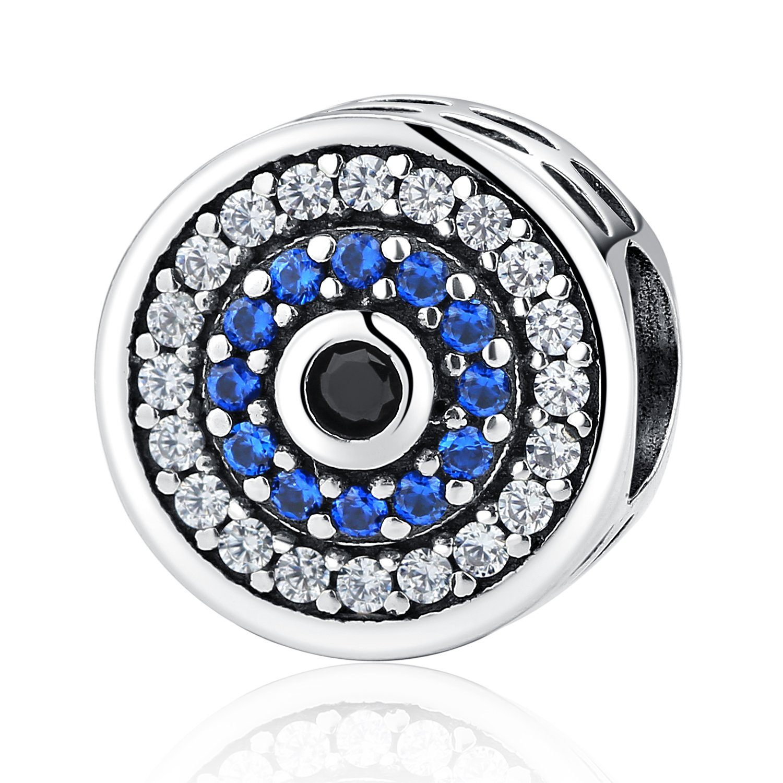 XingYue Jewelry Sterling Silver Eye of Evil Blue Crystal Dangle Bead Charms Hamsa Hand Charm Fit Snake Chain Bracelets (Evil Eye Charms Bead)