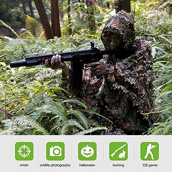 Poncho de Camouflage, Traje de Camuflaje Hoja Protector Bosques Ropa Respirable Traje Al Aire Libre para Caza Woodland Ligero Escondido y Airsoft: ...