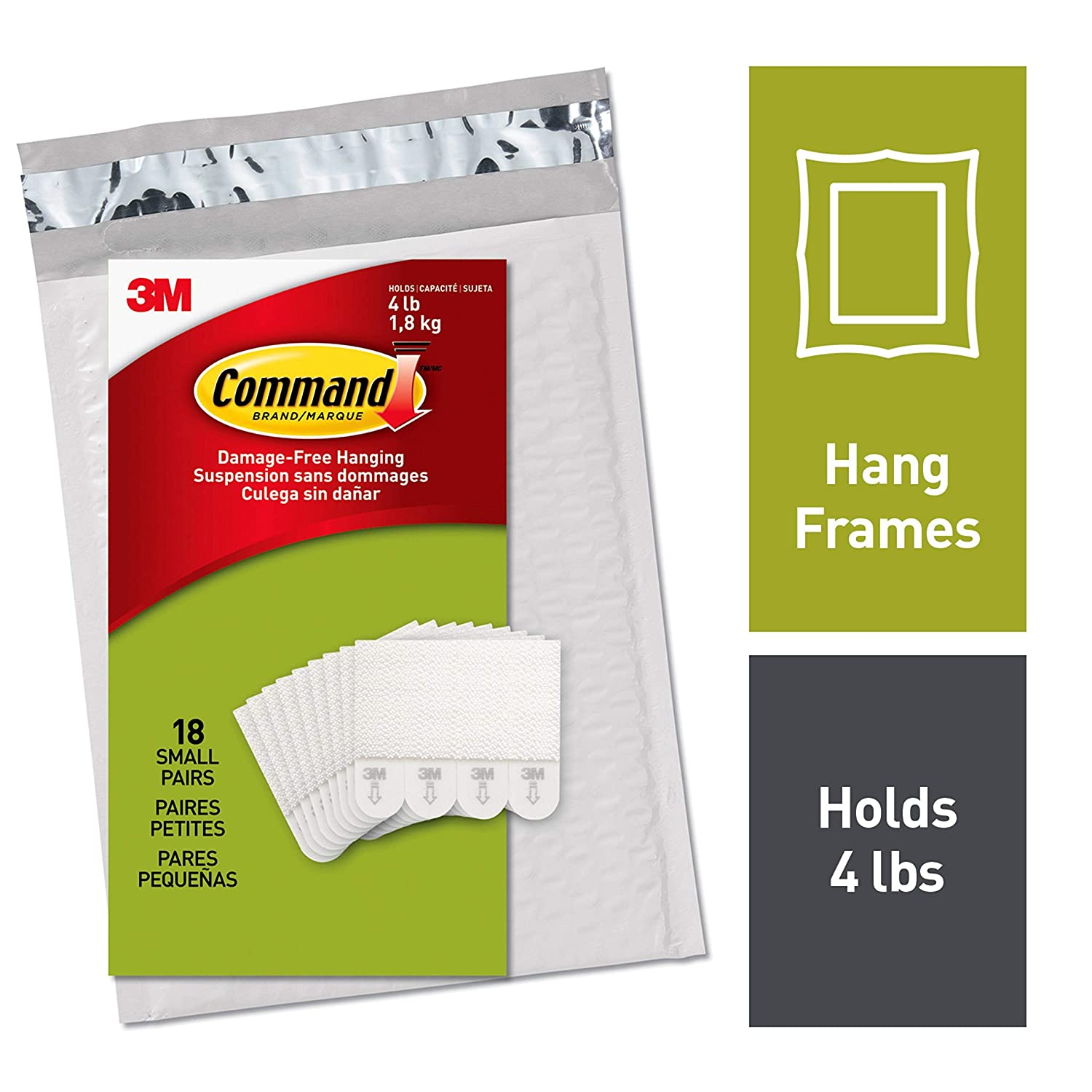 Command by 3M Small Picture Hanging Strips, Create Gallery Walls, Strong and Versatile, Hangs up to 9 frames