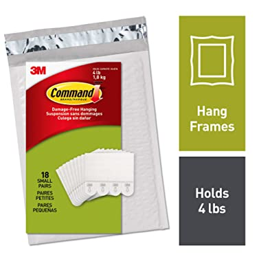 Command Picture Hanging Strips, Small, Holds 4 lbs, Decorate Damage-Free, Easy to Open Packaging (PH202-18NA)