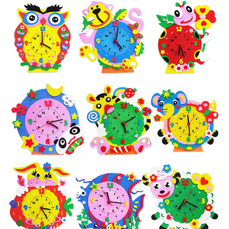 1PC 3D Creative Handmade EVA Cartoon Animals Clock Puzzle Arts Crafts Kits Baby Kids