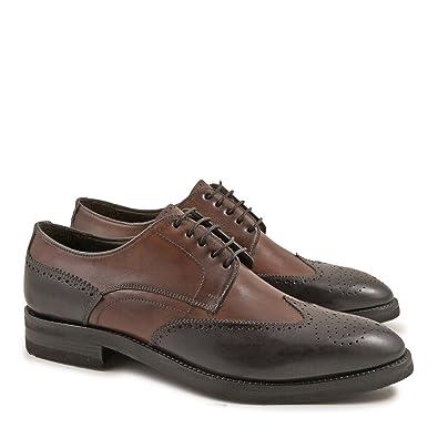 4d169c0cd66 Leonardo Shoes Chaussures Brogue Deux Tons Artisanales en Cuir Bleu et  Brandy - Code modèle
