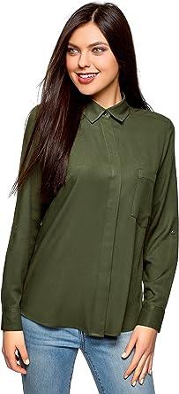 oodji Ultra Mujer Blusa de Viscosa con Bolsillo en el Pecho: Amazon.es: Ropa y accesorios