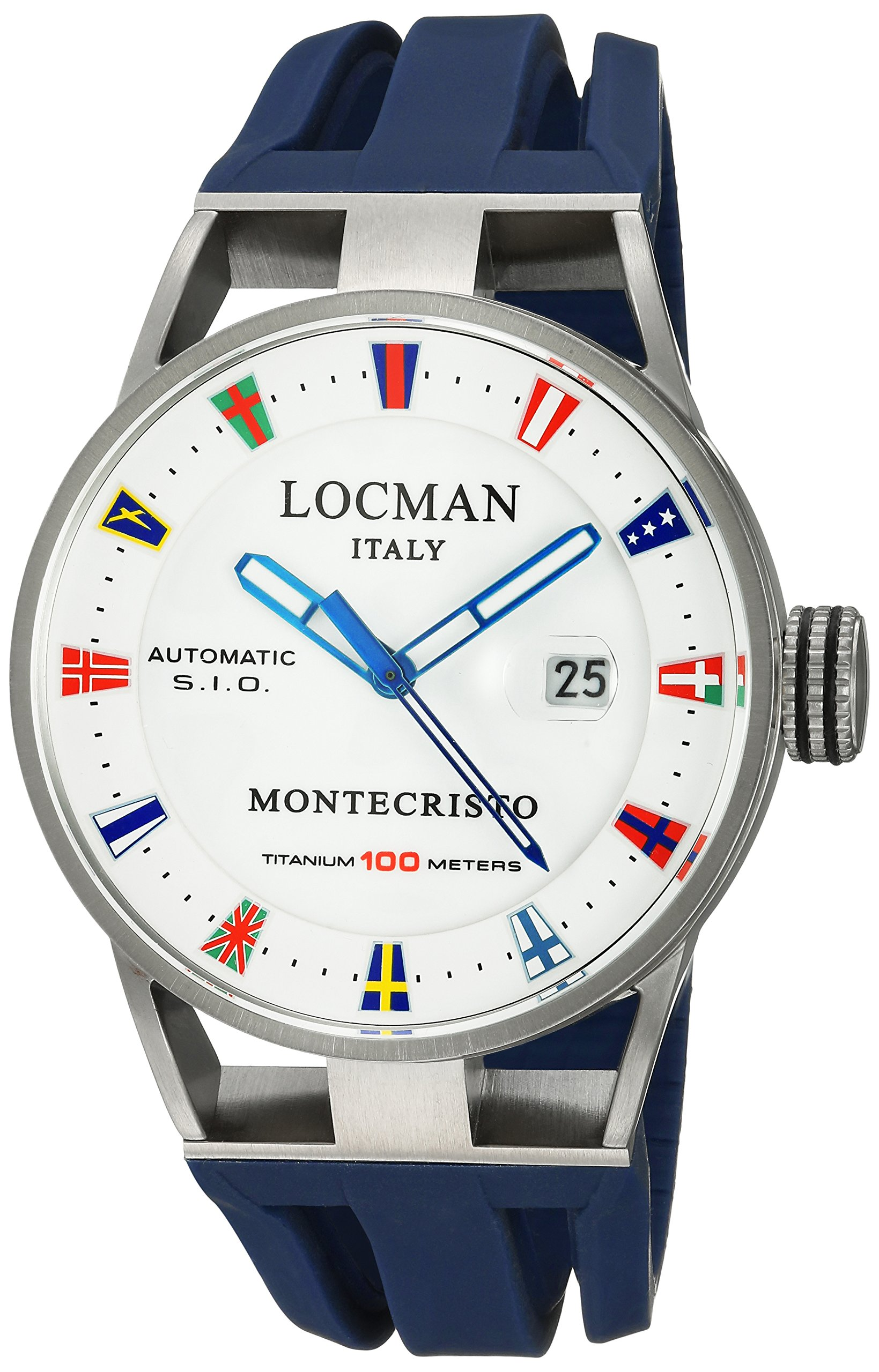 Locman Italy Men's 'Montecristo Yacht Club AU' Automatic Stainless Steel and Rubber Diving Watch, Color:Blue (Model: 051100WHFLAGGOB)