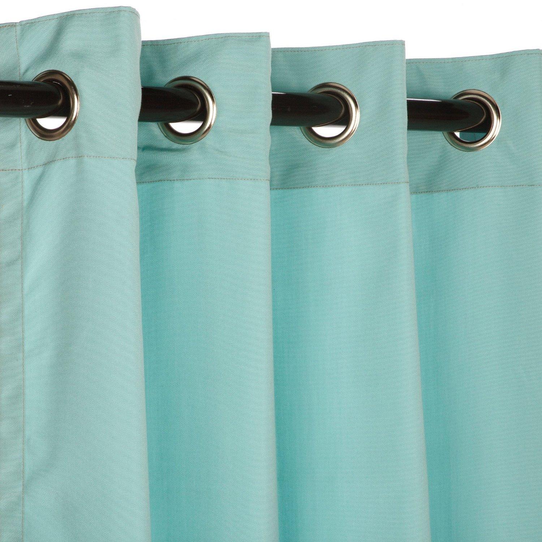 Sunbrella Outdoor Curtain with Nickle Grommets - Canvas Glacier, 50x96 by Sunbrella