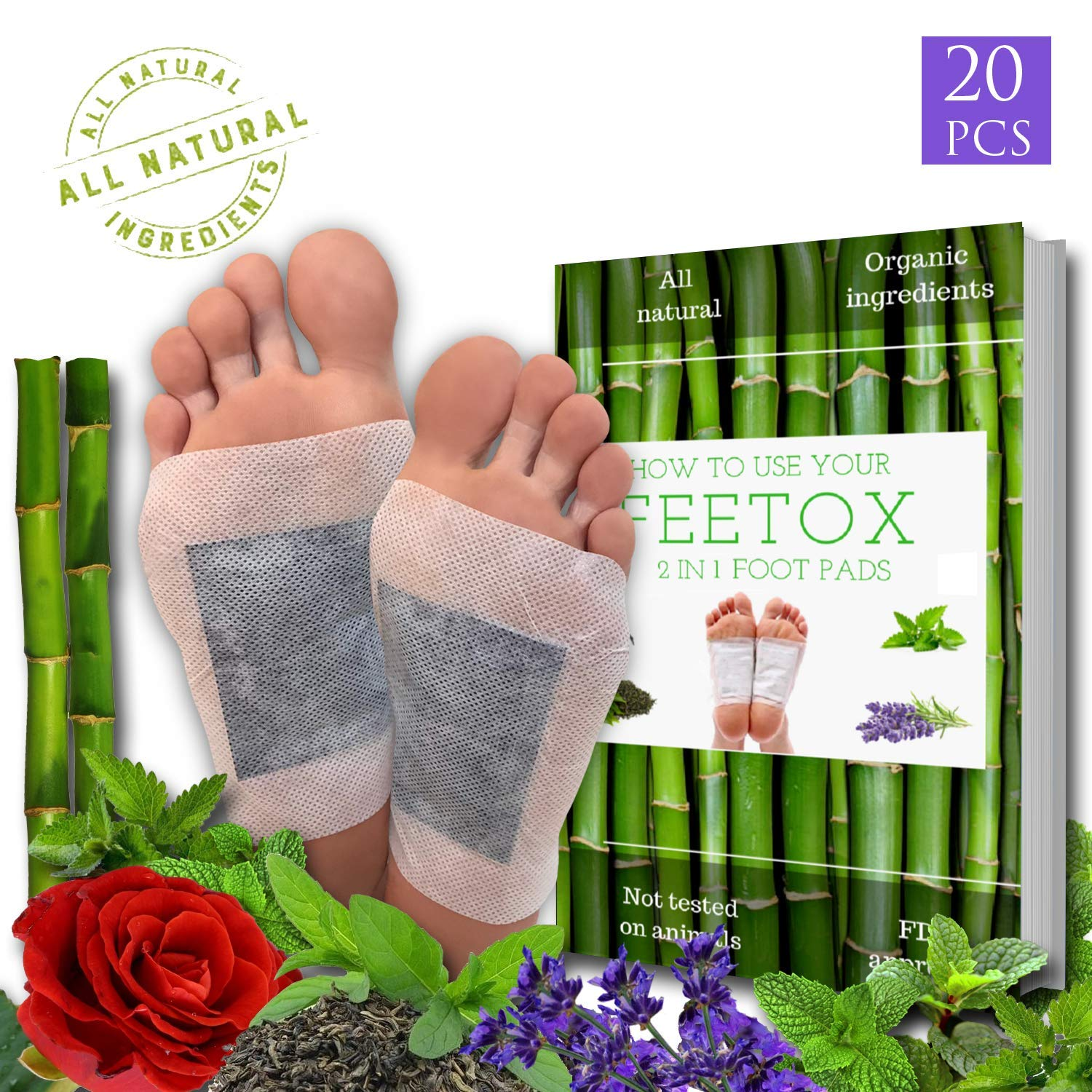 Foot Pads 20pc, Bonus EBOOK | Lavender, Rose, Mint, Green Tea | Upgraded 2in1 | All Natural 100% Organic Aroma Foot Pads