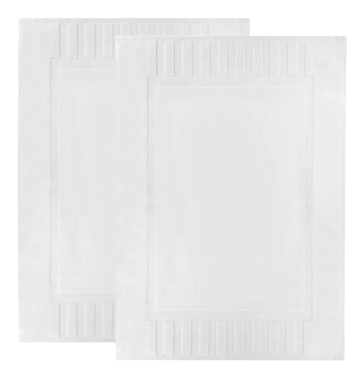 Luxury White Cotton Bath-Mats Hotel-Spa-Washable-tub-Set - 100% Cotton Reversible Hotel Quality Bath Mat Set - 2 Pack - 22''x34''