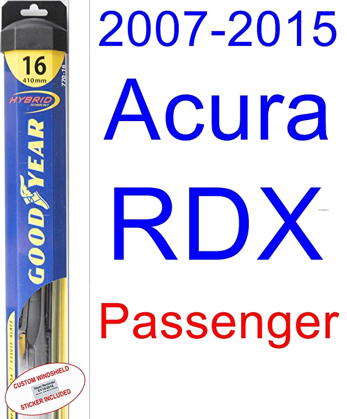 Amazon.com: 2007-2015 Acura RDX Replacement Wiper Blade Set/Kit (Set of 2 Blades) (Goodyear Wiper Blades-Hybrid) (2008,2009,2010,2011,2012,2013,2014): ...