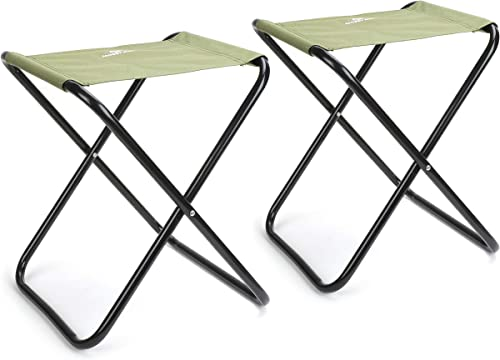MOSSY OAK Camping Folding Stool Mini Portable Lightweight Chair,2-Piece,Green,Max Load 220 lbs,14 x 13 x 17 inch
