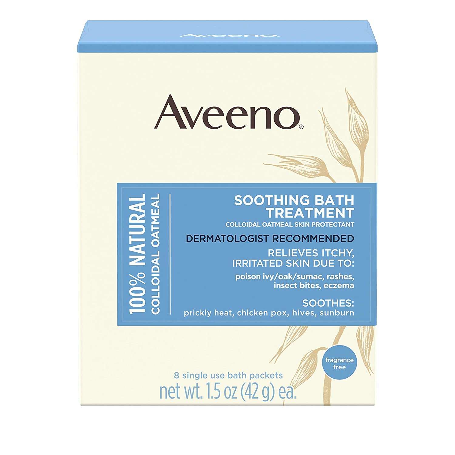 Aveeno Soothing Bath Treatment with 100% Natural Colloidal Oatmeal for Treatment & Relief of Dry, Itchy, Irritated Skin Due to Poison Ivy, Eczema, Sunburn, Rash, Insect Bites & Hives, 8 ct. : Bubble Baths : Beauty