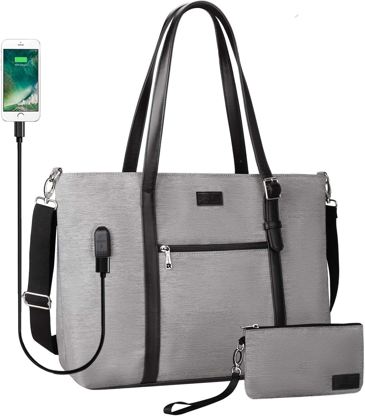 Laptop Tote Bag, Large Women Work Bag Purse USB Teacher Bag Fits 17.1 Inch Laptop (XL Gray 17inch)