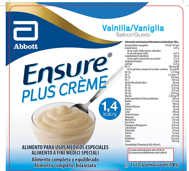 Amazon.com: Abbott Ensure Plus Creme Vanilla 4x125g: Health & Personal Care