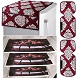 Kuber Industries Flower Design Combo PVC 3 Pieces Fridge Mats, 2 Piece Handle Cover and 1 Piece Fridge Top Cover (Maroon) -CTKTC024407
