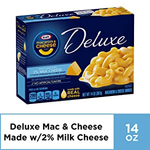 Kraft Deluxe Macaroni and Cheese Dinner with 2% Milk Cheese, 14 oz Box, Pack of 6