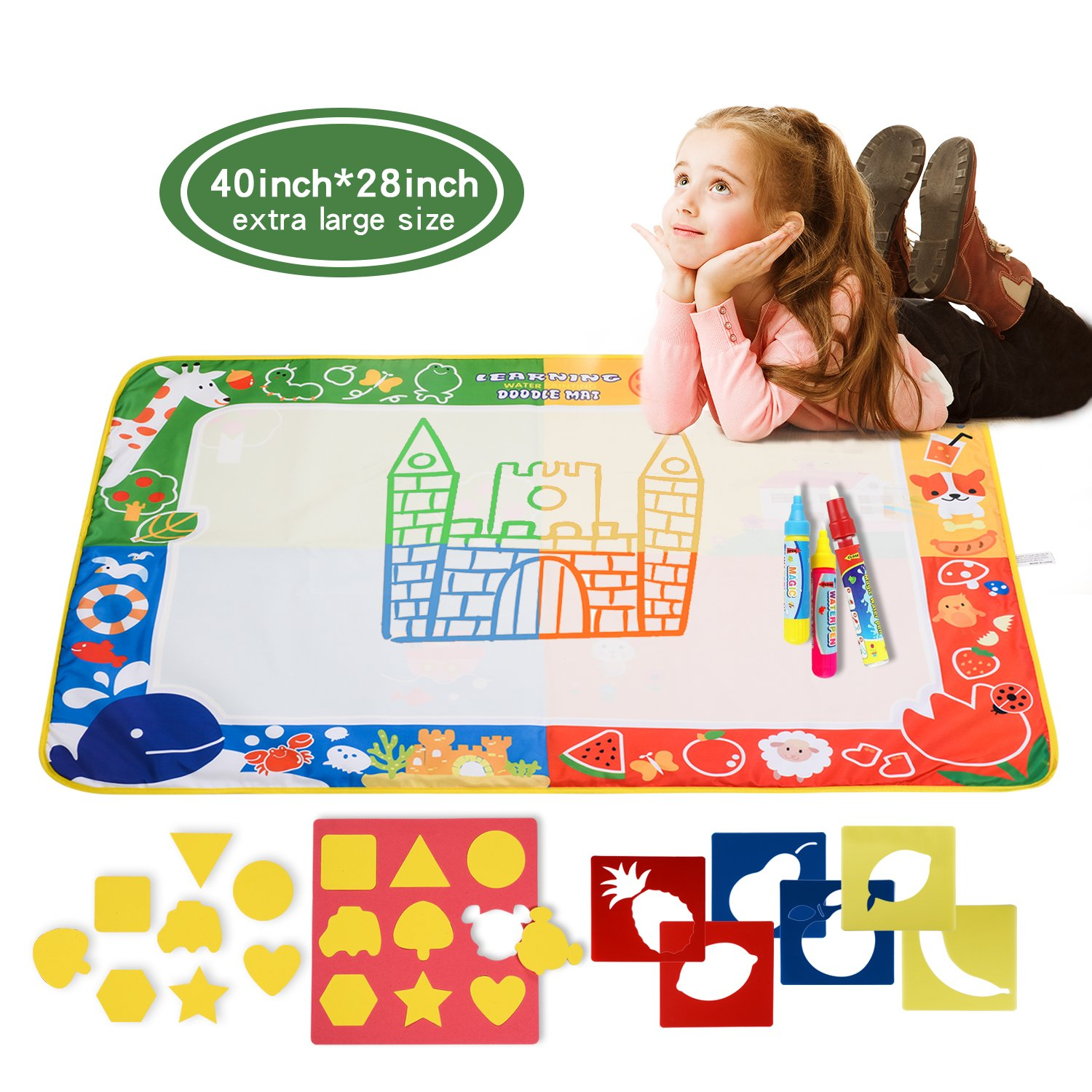 citymama Drawing Mat Doodle Magic mat water Drawing & writing Mat painting board 4 Colors with 3 Magic Drawing Pens and 15 Molds Kids Educational Toy Mat Gift for Children XL Size 40'' x 28'' by citymama (Image #1)