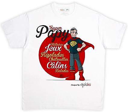 Regalo para abuelo: camiseta Super Papy con texto en francés ...
