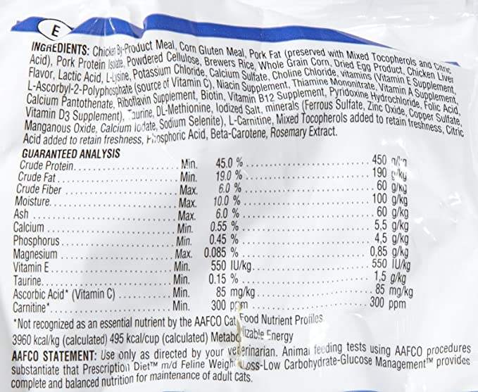 Amazon.com : Hills Prescription Diet m/d Feline Glucose/Weight Management - Chicken Flavor - 8.5lb : Pet Supplies