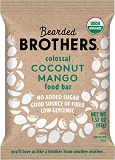product image for Bearded Brothers Vegan Organic Energy Bar | Gluten Free, Paleo and Whole 30 | Soy Free, Non GMO, Low Glycemic, Packed with Protein, Fiber + Whole Foods | Coconut Mango | 12 Pack
