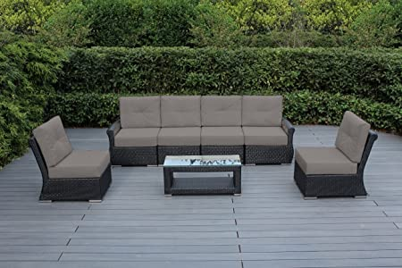 Outdoor Patio Couch Set, Amazon Com Ohana Luxury Outdoor Patio Furniture Collection 7 Pc Tall Back Set With Sunbrella Cover Sunbrella Taupe With Free Patio Cover Garden Outdoor