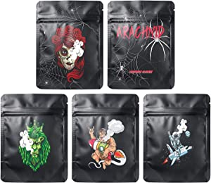 50 Pack Smell Proof Mylar Bags | 5x3.8 inch Resealable Ziplock Bags for Food Safe,Package Bags with five patterns,Food Storage Bags used in daily life