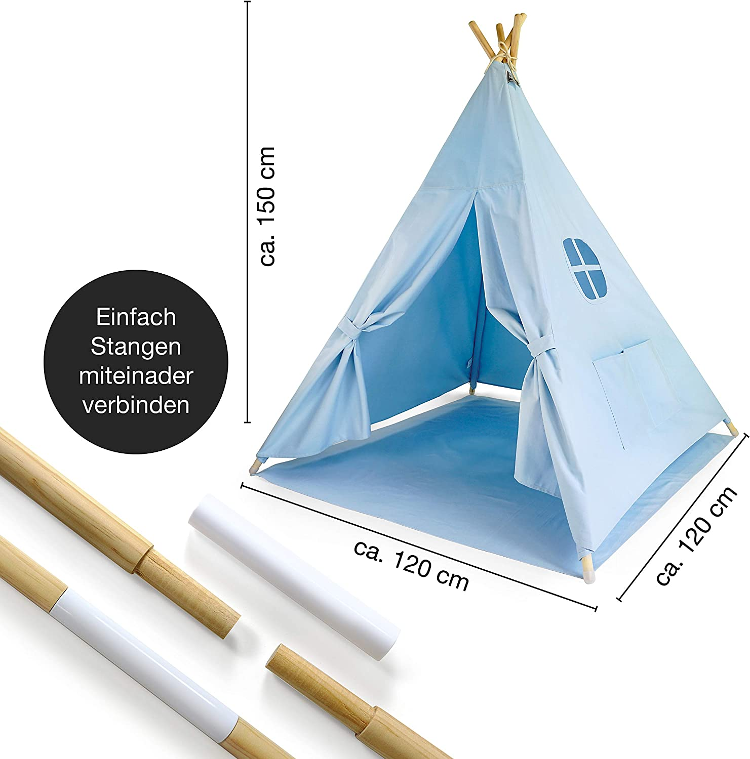 Grey Spike for the home and garden Moritz /& Moritz Teepee Tent For Kids kids tent play tent gift idea with floor cover and window