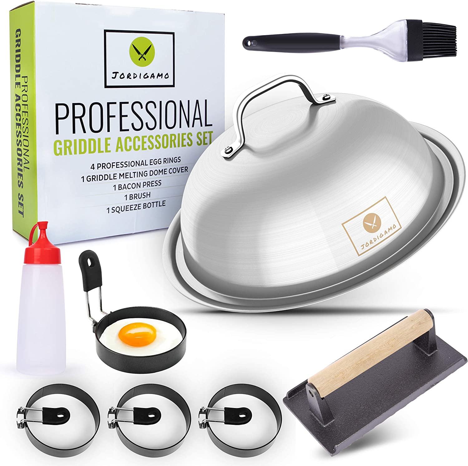 Jordigamo Griddle Accessories Kit, 8 Flat Top Grill Accessories Set for Blackstone & Camp Chef, Hibachi/BBQ Tools, 12? Cheese Melting Griddle Dome Cover Set, Bacon Press, 4 Egg Rings, Brush & Bottle
