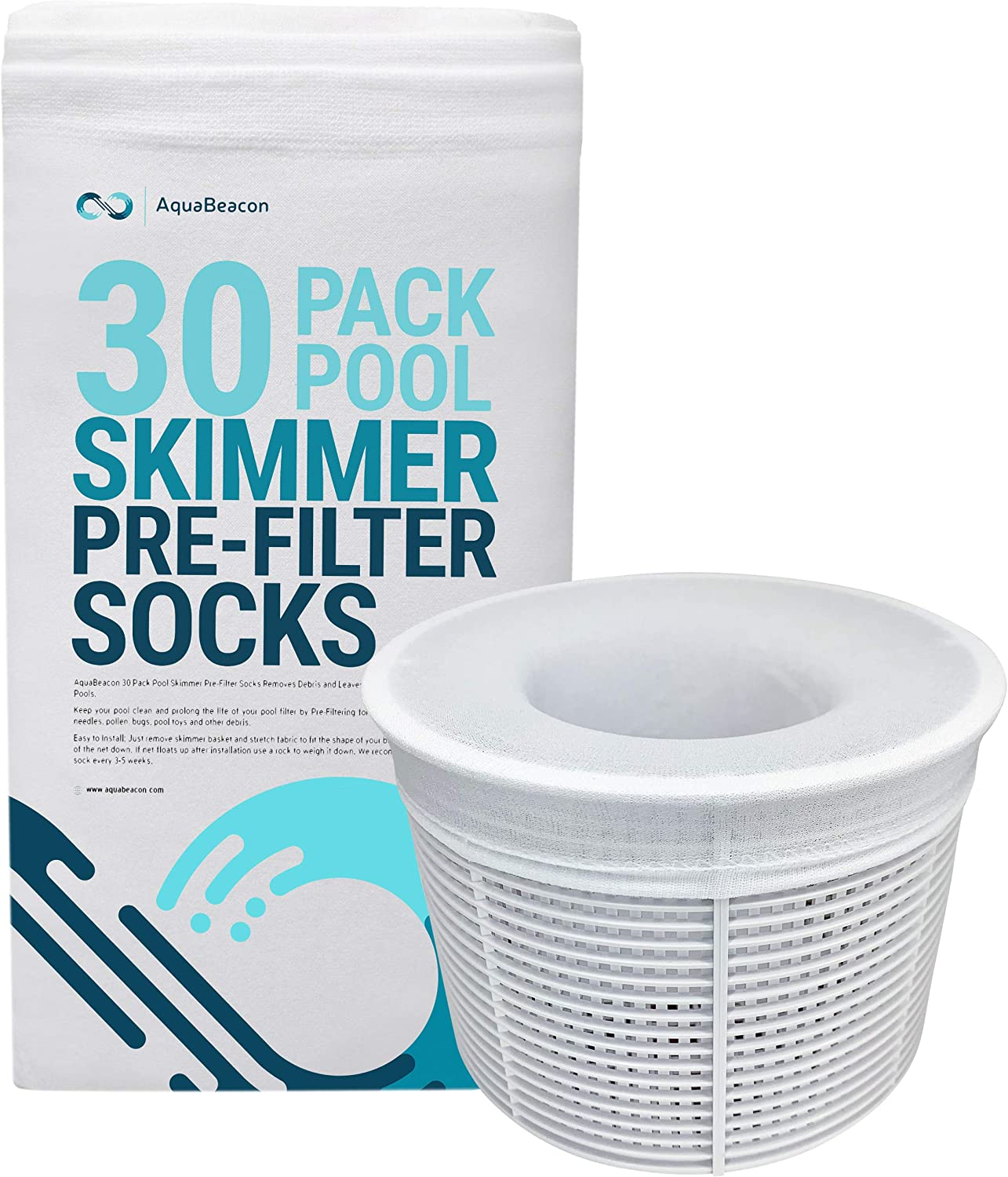 Aquabeacon Premium Pool Skimmer Socks Perfect Pool & Spa Savers for Filters, Baskets, and Skimmers (30 Pack)