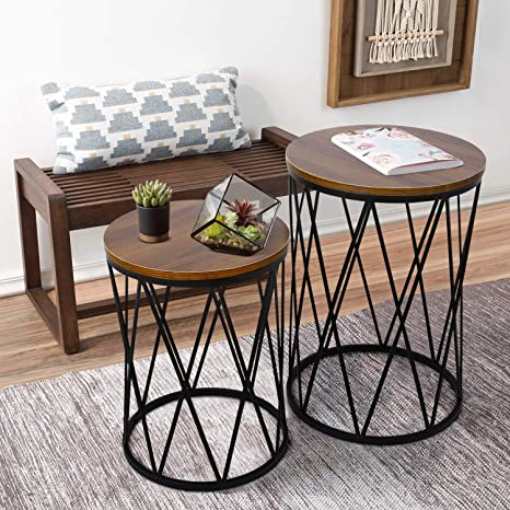 Bedroom Furniture Upcycled Table Functional Versatile Table Solid Wood Round Gray Two Tier Accent Table Side Table Mid Century