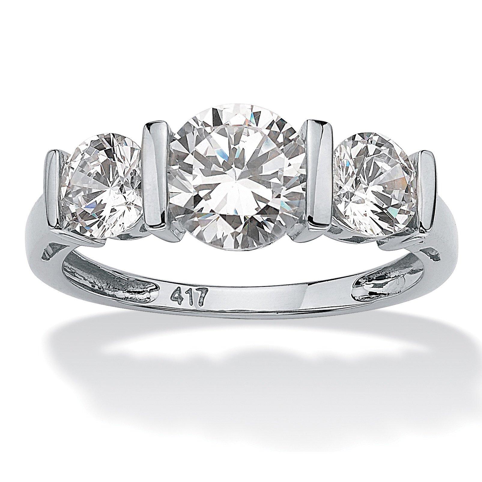 Solid 10K White Gold Round Cubic Zirconia Bar-Set 3-Stone Wedding Anniversary Ring Size 8