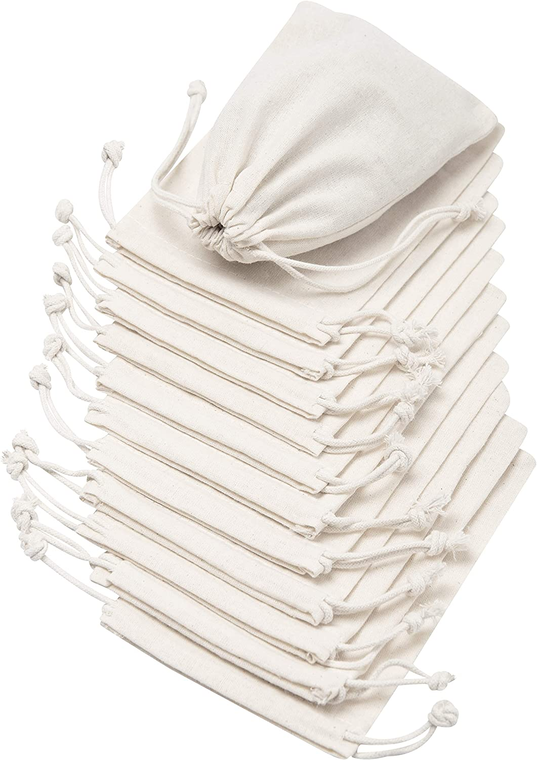 100 Percent Cotton Muslin Drawstring Bags 12-Pack for Storage Pantry Gifts - Unbleached (4 x 6, Beige)