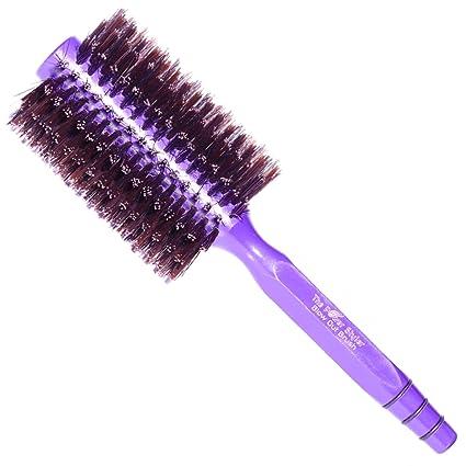 Cepillo de pelo de cerdas de jabalí redondo, para alisar el cabello o rizar el cabello, ...