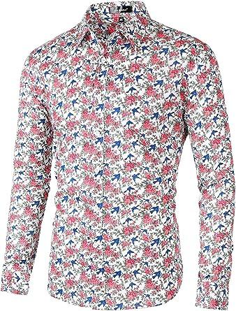 63b293c961c76c Lars Amadeus Men Bird Flower Printed Casual Long Sleeve Button Down  Tropical Floral Shirt Small White