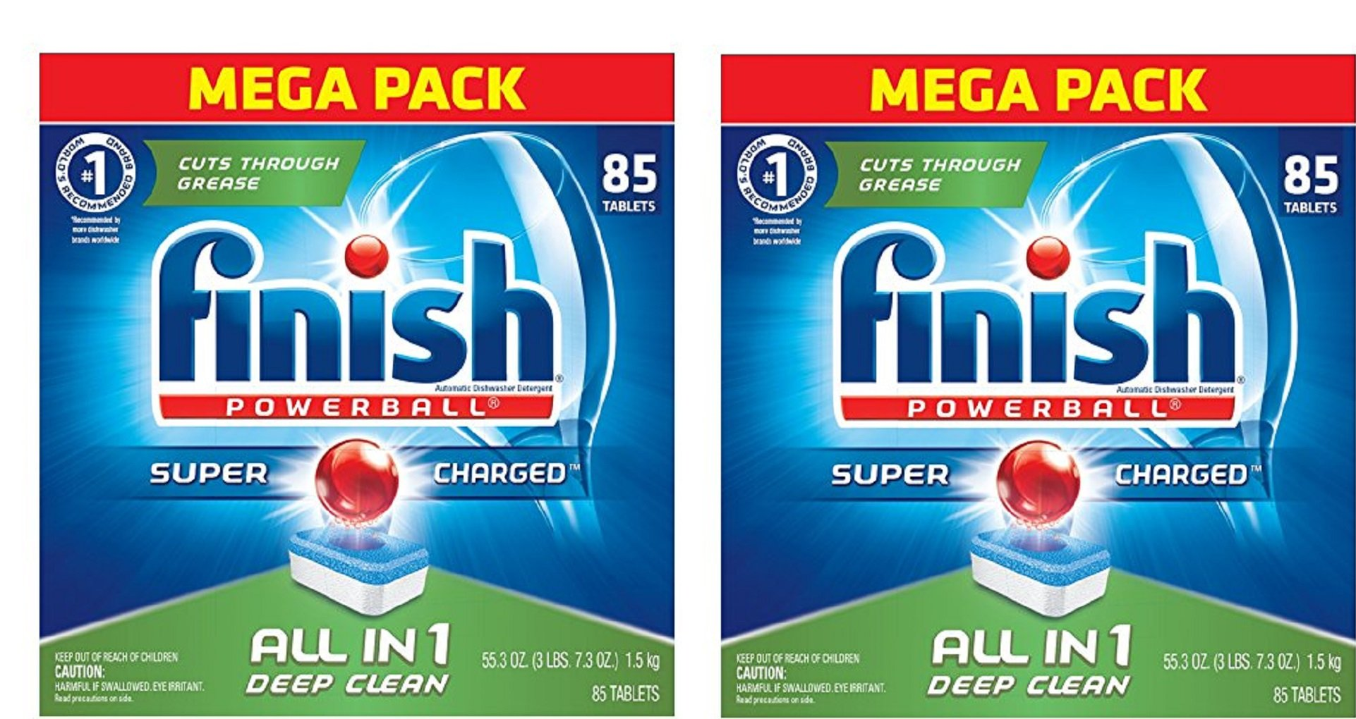 Finish Powerball All In 1 Automatic Dishwasher Detergent Tabs Fresh Scent fLtgVU, 2Pack (85-Count)