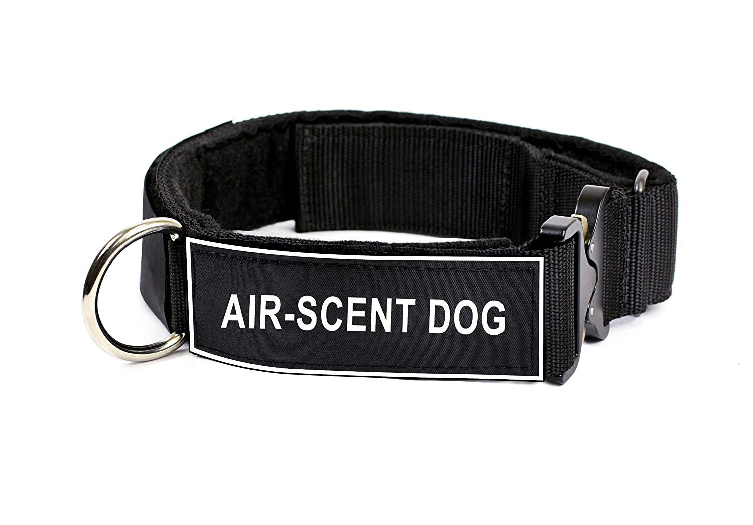 Dean & Tyler 26 to 37-Inch Strong Nylon Cobra Patch Collar With Felt Padding, Air-Scent Dog Patches, Large, Black