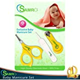 SAMRO Baby Nail Clippers Set Safety Versatile Unisex Grooming Nursery & Healthcare Kit Manicure for Babies,Infants,Toddlers Shower Gift (Yellow)