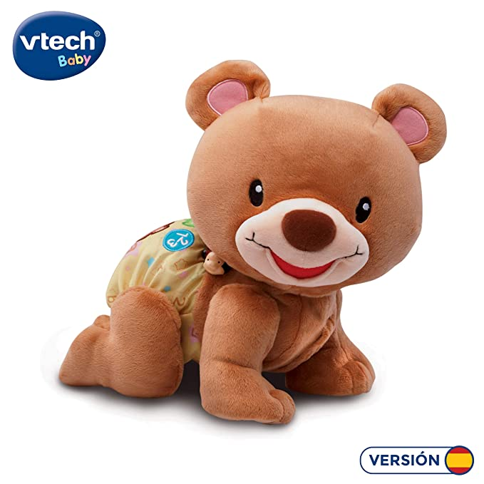 VTech - Osito gateos, Oso Peluche Interactivo, Suave Animal gateador Que estimula la curiosidad del bebé y Anima a Seguir imitándolo, Color marrón ...