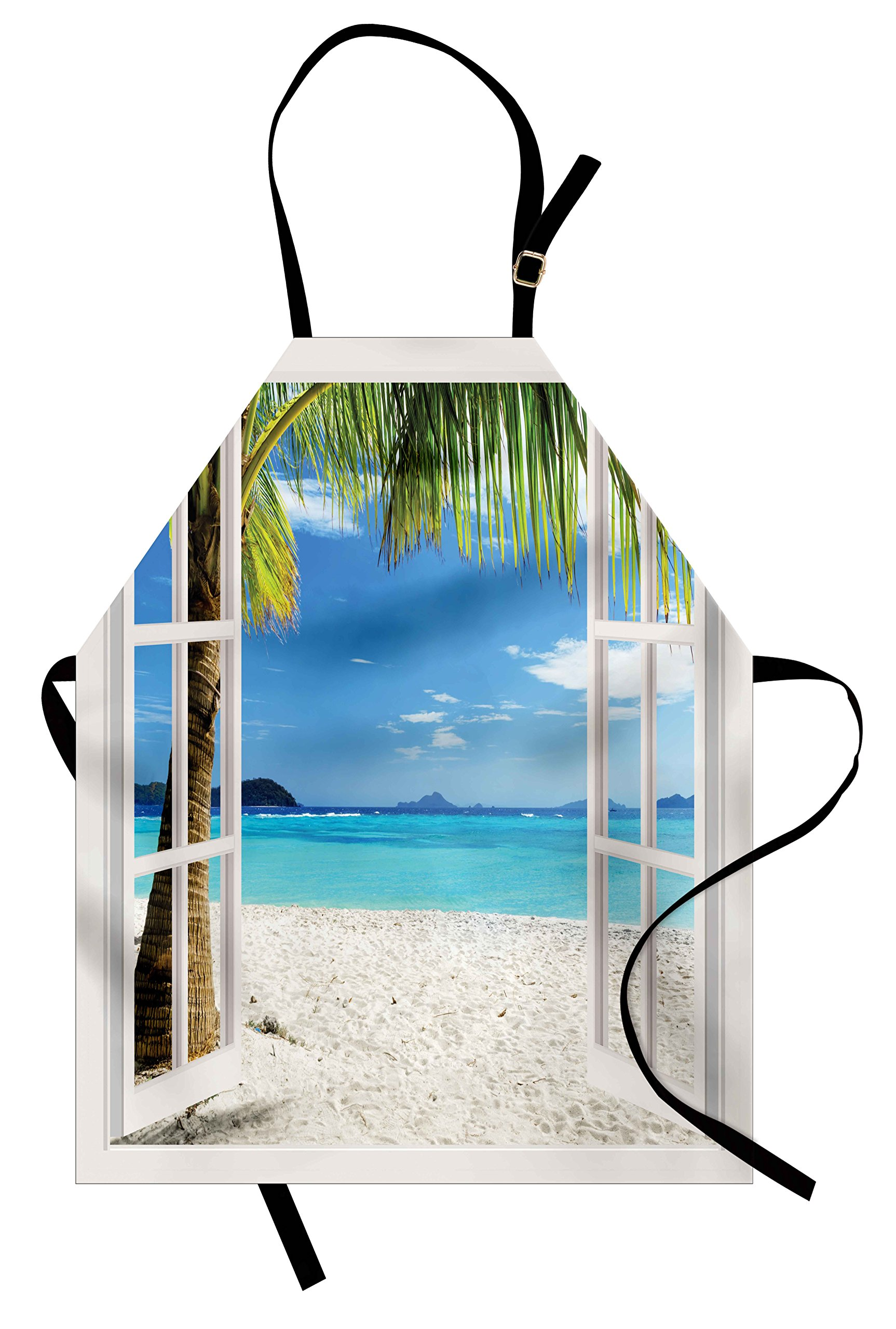 Ambesonne Turquoise Apron, Tropical Palm Trees on Island Ocean Beach Through White Wooden Windows, Unisex Kitchen Bib Apron with Adjustable Neck for Cooking Baking Gardening, Blue Green and White