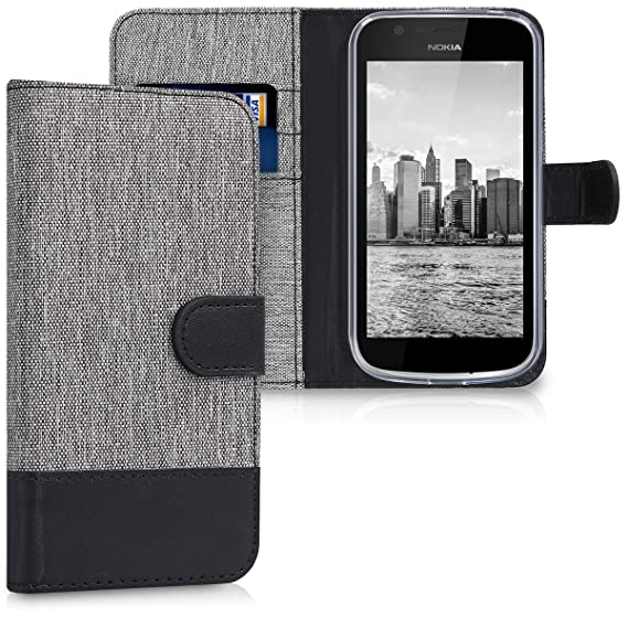 best sneakers 0b15a eff79 kwmobile Wallet Case for Nokia 1 - Fabric and PU Leather Flip Cover with  Card Slots and Stand - Grey/Black