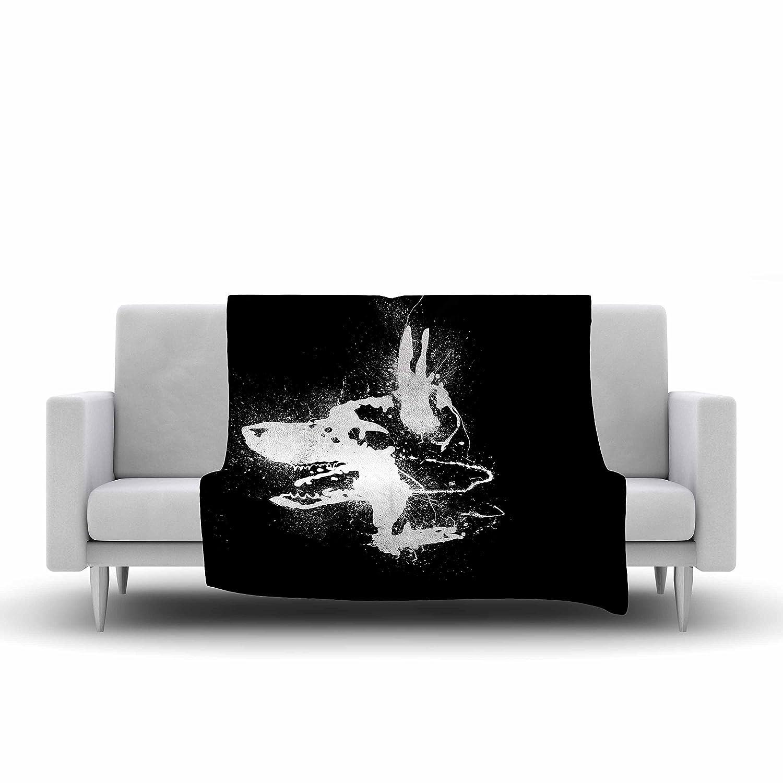 60 by 50-Inch 60 X 50 Kess InHouse BarmalisiRTB Watchdog Black White Fleece Throw Blanket