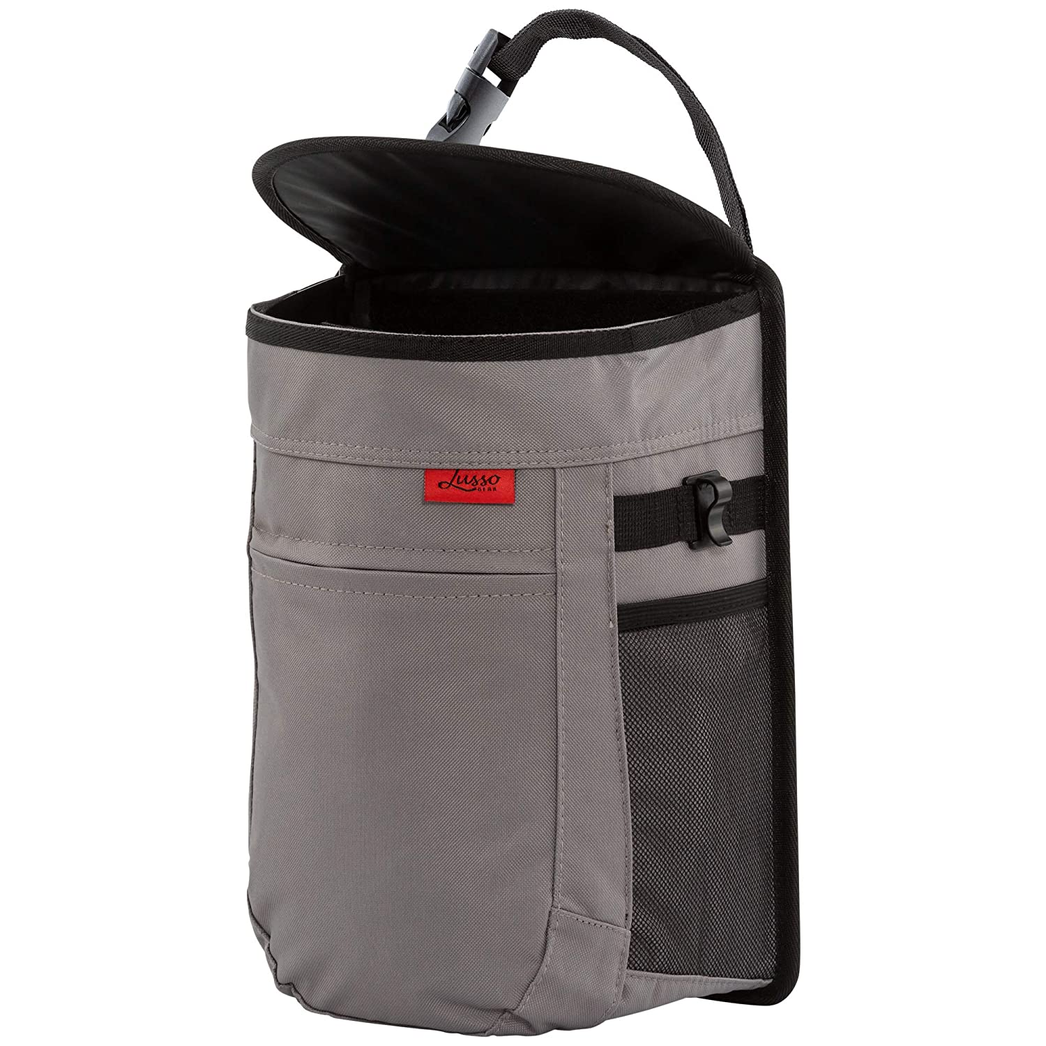 Easy Hanging or Mounting In Car//Truck//Minivan//SUV//Auto Vinyl Leakproof//Removable Trash Liner Flip Open Lid Compact Design Lusso Gear Car Trash Can Large 2.5 Gallon Capacity Storage Pockets