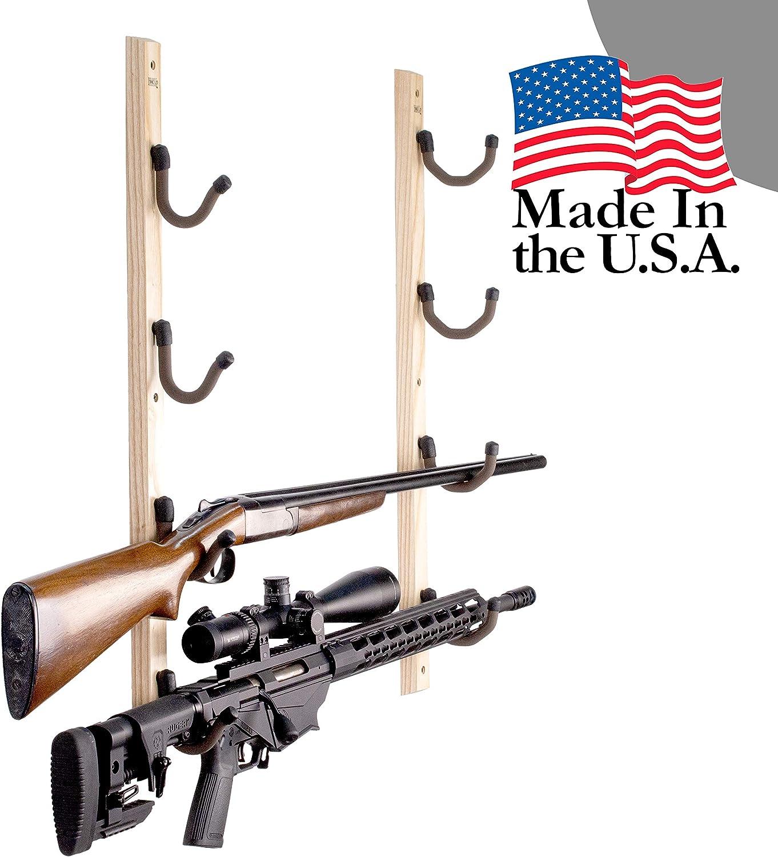 New Rustic Solid Pine Wood 5 Gun Long Gun Wall Mount Storage Rack Hooks Hangers