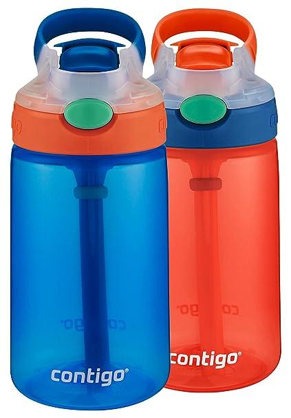 790699814b Amazon.com: Contigo Kids Gizmo Flip Water Bottles, 14oz, French Blue/Coral,  2-Pack: Kitchen & Dining