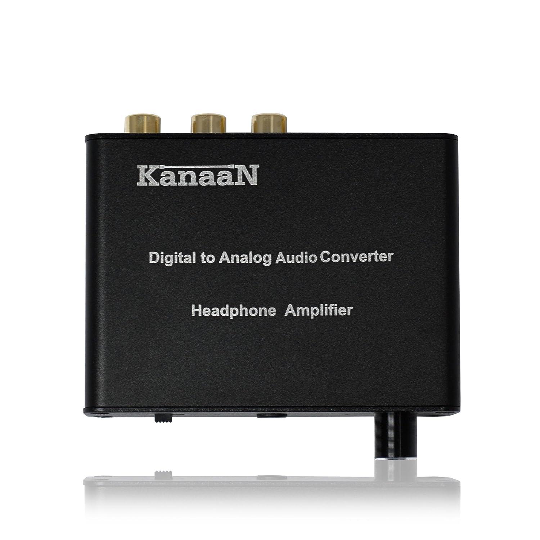 Preamplificato con regolatore volume per uscita Jack fino a 300 Ohm KanaaN Convertitore Audio DAC Toslink e Coassiale, SPDIF in segnale analogico RCA R // L converte segnale audio da digitale e Jack 3,5mm